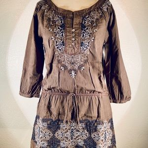 Johnny Was 3J Henley peasant tie tunic size S NWT